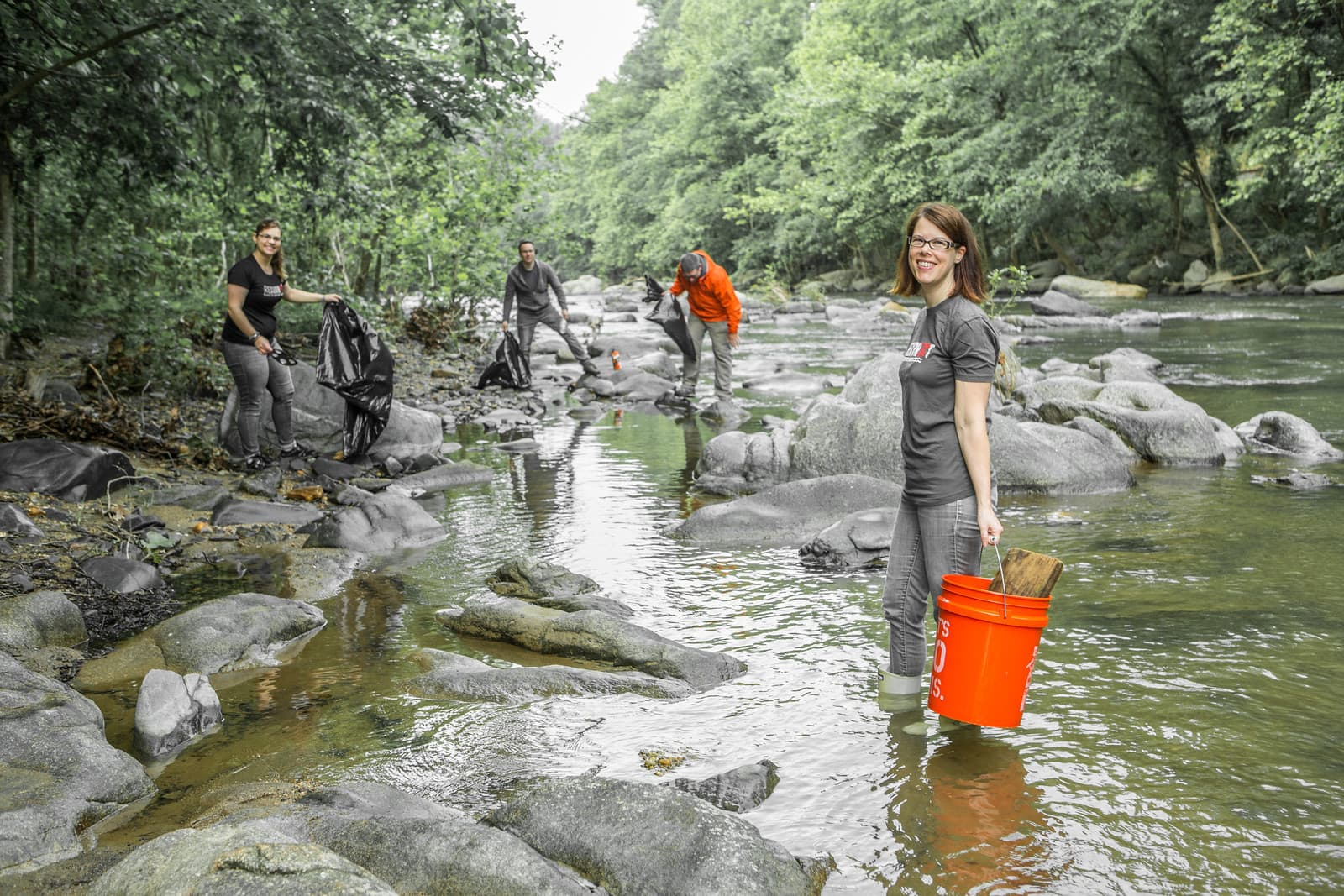 Indigoink Team Patapsco River Stream-Cleaning