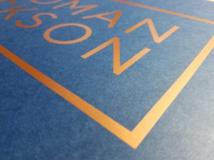 Digital Copper Foil on Blue Stock - digital foil stamping
